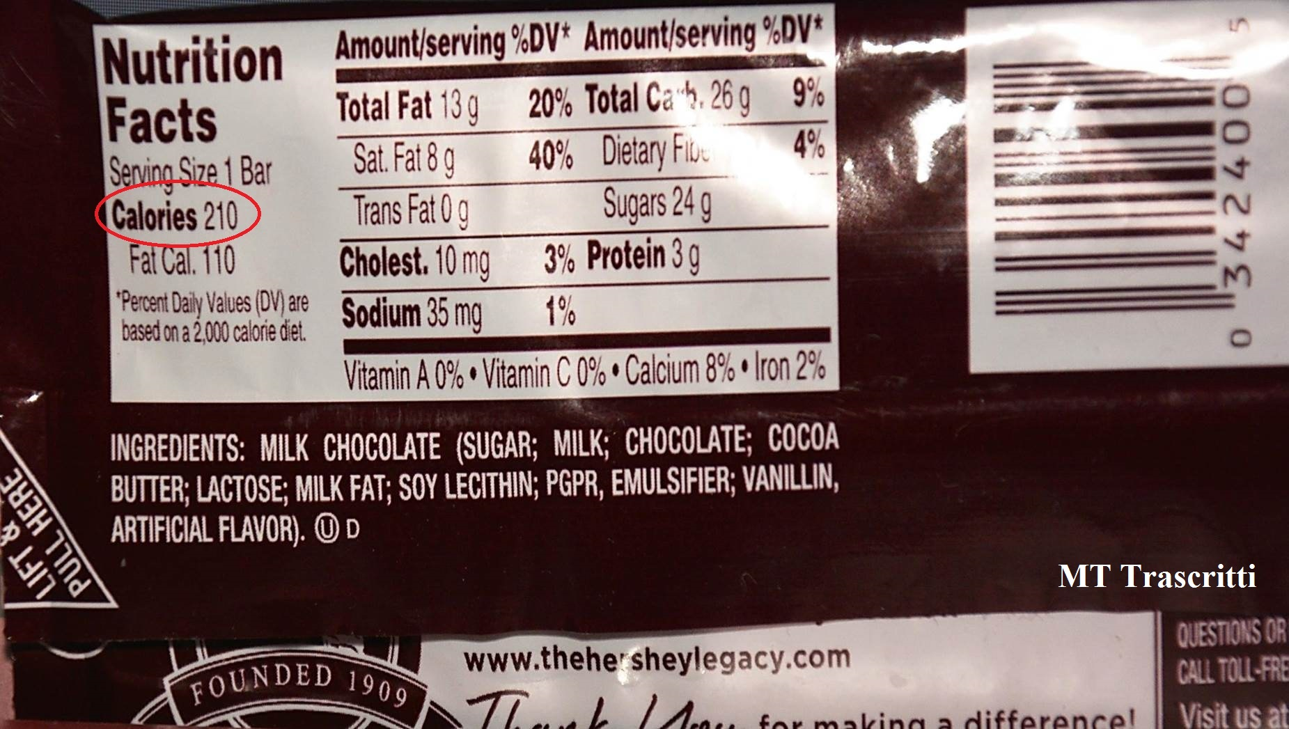 Calories In  Ounce Chocolate Bar